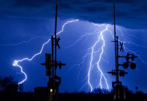 lightning out in the desert